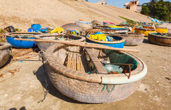 Round fishing boat bay Vietnam Royalty Free Stock Images