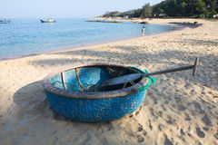 Round fishing boat made from bamboo and wood on the beach Royalty Free Stock Photos