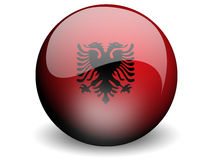 Round Flag of Albania. With Glossy Effect Stock Photo