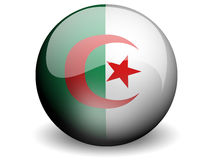 Round Flag of Algeria. With Glossy Effect Royalty Free Stock Photo