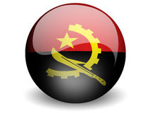 Round Flag of Angola. With Glossy Effect royalty free illustration