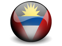 Round Flag Of Antigua and Barbuda. With Glossy Effect Stock Images