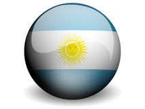 Round Flag of Argentina. With Glossy Effect Stock Image