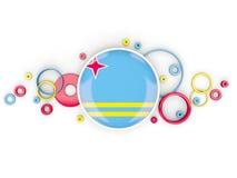 Round flag of aruba with circles pattern Royalty Free Stock Photos