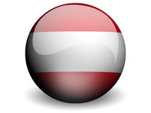 Round Flag of Austria. With Glossy Effect Royalty Free Stock Images