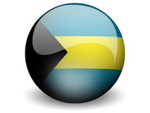 Round Flag of Bahamas. With Glossy Effect Royalty Free Stock Image