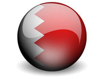 Round Flag of Bahrain. With Glossy Effect royalty free illustration