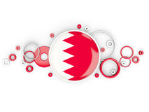 Round flag of bahrain with circles pattern. Isolated on white. 3D illustration royalty free illustration
