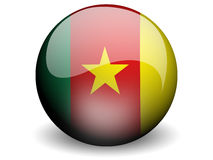 Round Flag of Cameroon. With Glossy Effect Stock Photo