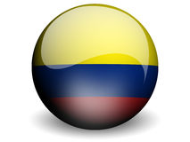 Round Flag of Colombia. With Glossy Effect Stock Photos