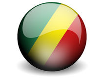 Round Flag of Congo-Brazzaville. With Glossy Effect Stock Photography