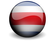 Round Flag of Costarica. With Glossy Effect Royalty Free Stock Image