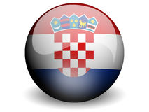 Round Flag of Croatia. With Glossy Effect Royalty Free Stock Image