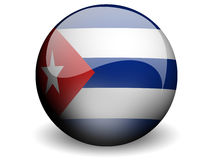 Round Flag of Cuba. With Glossy Effect Royalty Free Stock Images