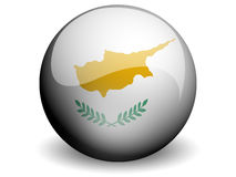 Round Flag of Cyprus. With Glossy Effect stock illustration