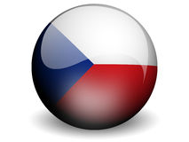 Round Flag of Czech Repulic. With Glossy Effect Royalty Free Stock Photography