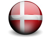 Round Flag of Denmark. With Glossy Effect Royalty Free Stock Image