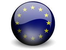 Round Flag of European Union. With Glossy Effect Royalty Free Stock Photo