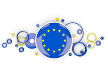 Round flag of european union with circles pattern Royalty Free Stock Images