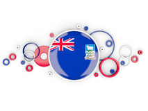 Round flag of falkland islands with circles pattern. Isolated on white. 3D illustration Stock Photography