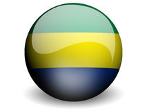 Round Flag of Gabon. With Glossy Effect vector illustration