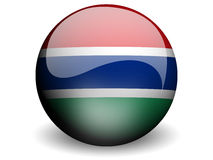 Round Flag of Gambia. With Glossy Effect Royalty Free Stock Images