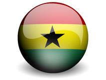 Round Flag of Ghana. With Glossy Effect Stock Photo