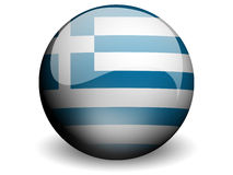 Round Flag of Greece. With Glossy Effect Royalty Free Stock Photography