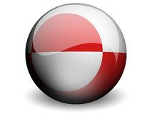 Round Flag of Greenland. With Glossy Effect Royalty Free Stock Photography