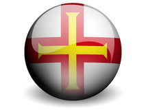Round Flag of Guernsey. With Glossy Effect Royalty Free Stock Photography