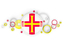 Round flag of guernsey with circles pattern Stock Photos