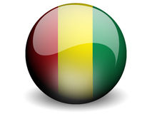 Round Flag of Guinea. With Glossy Effect Stock Photo
