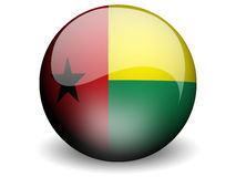 Round Flag of Guinea-Bissau. With Glossy Effect Stock Images