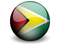 Round Flag of Guyana. With Glossy Effect Stock Image