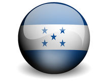 Round Flag of Honduras. With Glossy Effect Stock Image