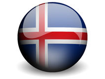 Round Flag of Iceland. With Glossy Effect Stock Image