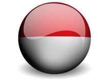 Round Flag of Indonesia. With Glossy Effect Royalty Free Stock Image