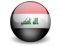 Round Flag of Iraq. With Glossy Effect Stock Photo