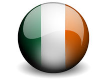 Round Flag of Ireland. With Glossy Effect Stock Photography