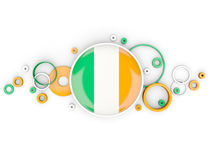Round flag of ireland with circles pattern Stock Photos