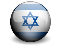 Round Flag of Israel. With Glossy Effect