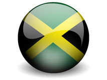 Round Flag of Jamaica. With Glossy Effect Stock Photography