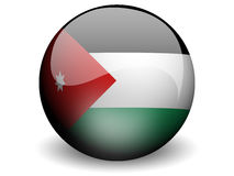 Round Flag of Jordan. With Glossy Effect Stock Photo