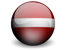 Round Flag of Latvia. With Glossy Effect Royalty Free Stock Image