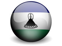 Round Flag of Lesotho. With Glossy Effect Royalty Free Stock Photos