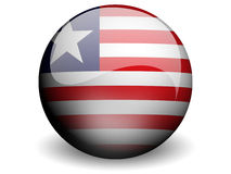 Round Flag of Liberia. With Glossy Effect Royalty Free Stock Photos