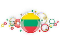 Round flag of lithuania with circles pattern Royalty Free Stock Photos