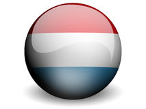 Round Flag of Luxembourg. With Glossy Effect Royalty Free Stock Images