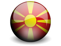 Round Flag of Macedonia. With Glossy Effect Stock Photography