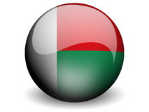 Round Flag of Madagascar. With Glossy Effect Stock Photo